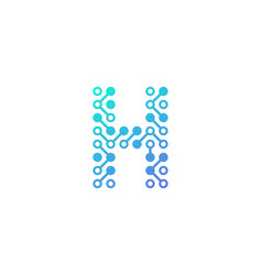 h circuit digital letter and number logo icon vector image