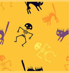 halloween orange cartoon seamless background vector image
