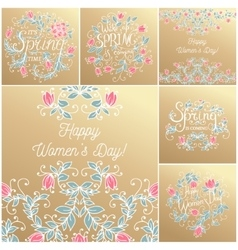 Hand drawing floral card vector image