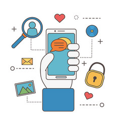 Hand with smartphone chatting security email vector