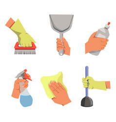 Hands hold different tools for cleaning vector