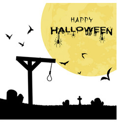 happy halloween gallows bats grave full moon backg vector image