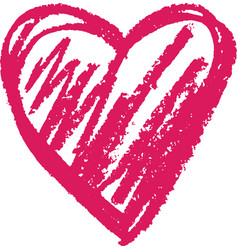 heart shape outline drawn with a wax crayon vector image