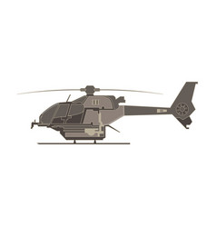helicopter flat icon isolated aircraft military vector image