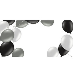 horizontal banner with black and silver helium vector image