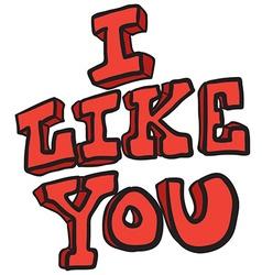 I like you freehand drawn cartoon symbol vector image