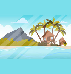Image a bungalow on the shore of a lagoon vector