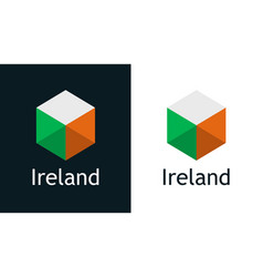 ireland flag in flat style on white and black vector image