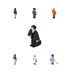 Isometric person set of seaman cleaner officer vector