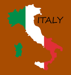 Italy map with flag inside map map vector
