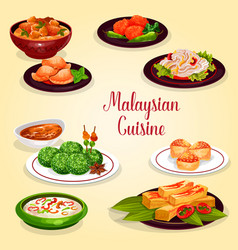 Malaysian cuisine icon of asian restaurant menu vector