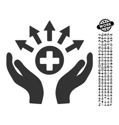 Medical distribution care hands icon with people vector