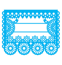 Mexican papel picado blank text template design vector