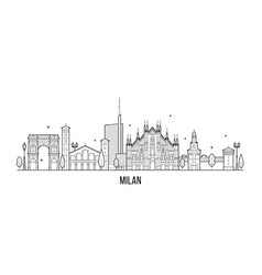 milan skyline italy city buildings line art vector image