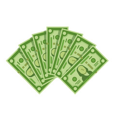 money banknotes fan pile of dollars cash green vector image