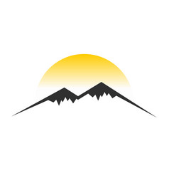 mountain sun view symbol design vector image