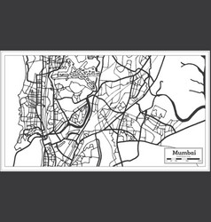 Mumbai india city map in retro style outline map vector