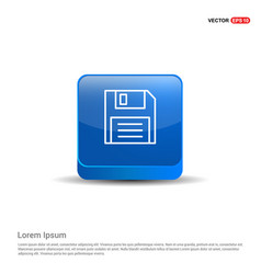Notepad icon flat design - 3d blue button vector