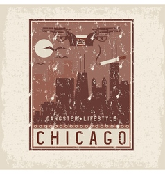 Old style grunge vintage retro poster with chicago vector