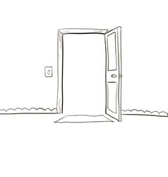 Open the door wide open light output and input vector image vector image