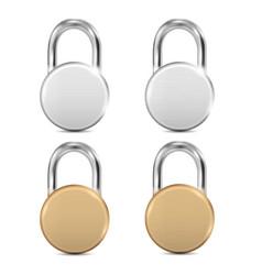 padlock icon set closed round padlocks metal vector image