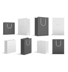 Paper shopping bags black white blank cardboard vector