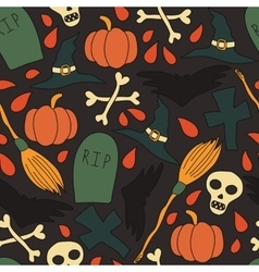 Pattern with traditional halloween elements vector image