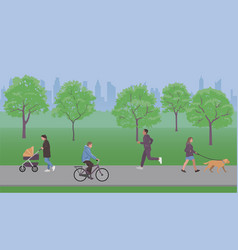 people walk in city park vector image