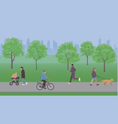 People walk in city park vector