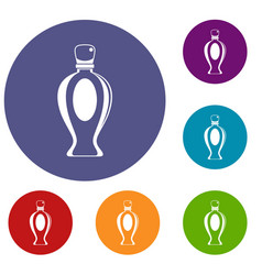 Perfume bottle icons set vector