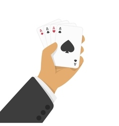Playing cards in hand vector