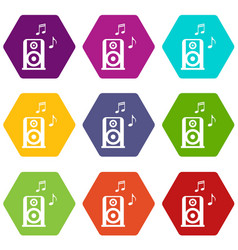 portable music speacker icon set color hexahedron vector image