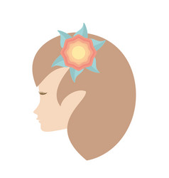 profile woman flower romantic image vector image
