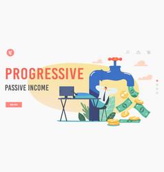 Progressive passive income landing page template vector
