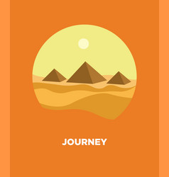 Pyramids in egyptian desert landscape icon vector