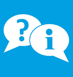 Question and exclamation speech bubbles icon white vector