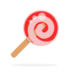 red round lollipop swirl on stick flat isolated vector image