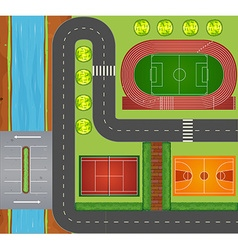 Roads and sports facilities vector