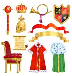 Royalty golden royal crown symbol king vector