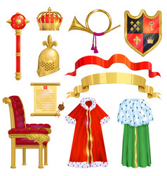 royalty golden royal crown symbol of king vector image