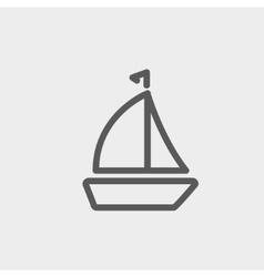 Sailboat thin line icon vector image
