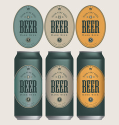 sample three beer cans with labels vector image