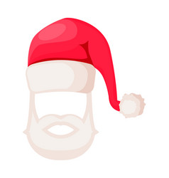 Santa claus hat with beard and moustaches isolated vector