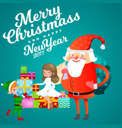 Santa claus in red hat with beard sits on chair vector