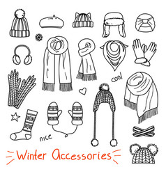 Set of hand drawn women accessories winter vector