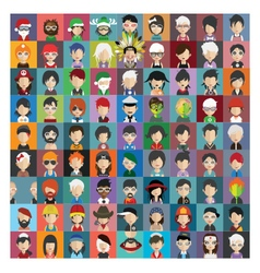 Set of people icons in flat style with faces 23 b vector