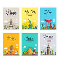 set of thin lines different cities for travel vector image
