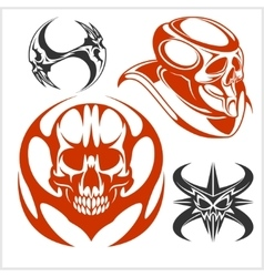 Set of tribal skulls for tattoo vector image vector image