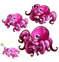 Set pink octopus isolated on white background vector