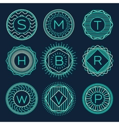 Set trendy monograms logotypes linear style vector
